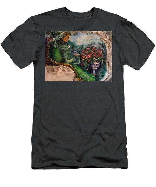 Men's T-Shirt (Athletic Fit) featuring the painting Green Tea In The Garden by Laurie Lundquist