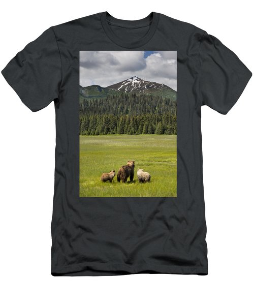 Men's T-Shirt (Athletic Fit) featuring the photograph Grizzly Bear Mother And Cubs In Meadow by Richard Garvey-Williams