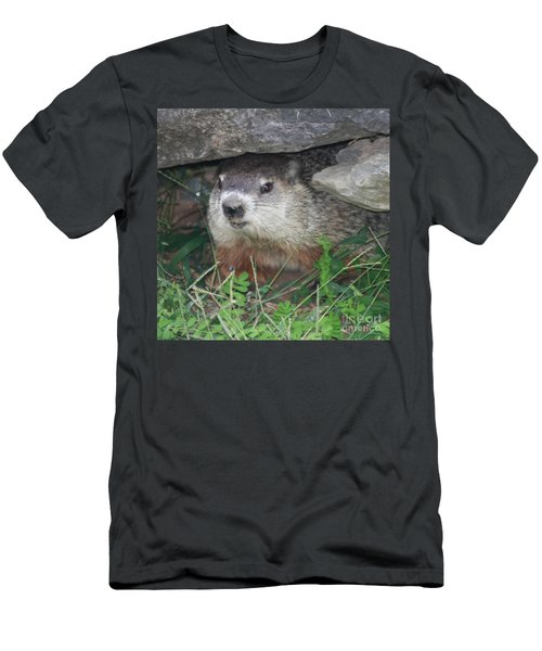 Groundhog Hiding In His Cave Men's T-Shirt (Athletic Fit)