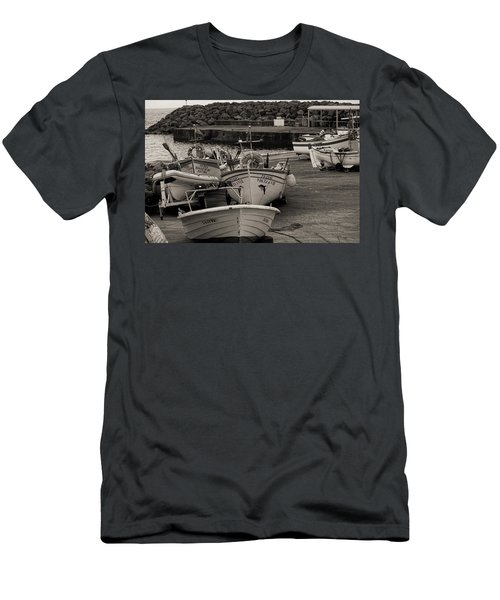 Groups Of Fishing Boats With Life Preservers Docked  Men's T-Shirt (Athletic Fit)
