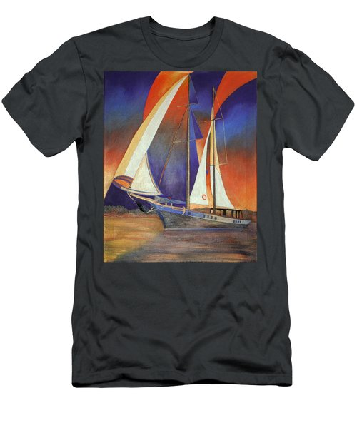 Men's T-Shirt (Slim Fit) featuring the painting Gulet Under Sail by Tracey Harrington-Simpson