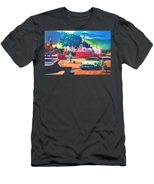 Men's T-Shirt (Slim Fit) featuring the painting Guys Dolls And Pink Adobe by Art James West
