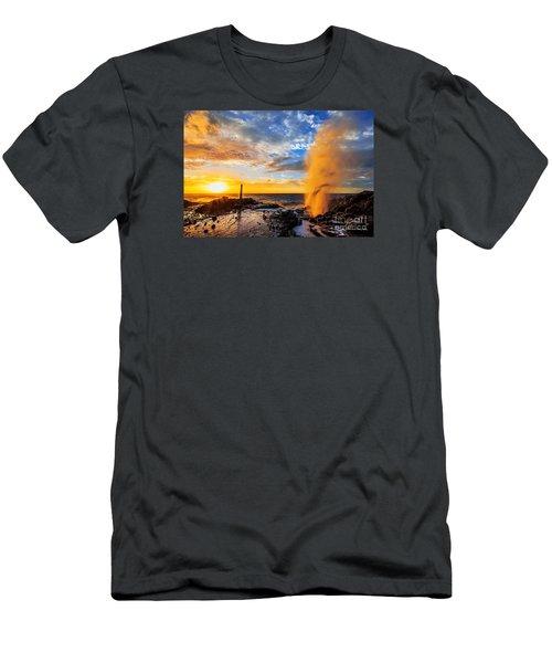 Halona Blowhole At Sunrise Men's T-Shirt (Slim Fit) by Aloha Art