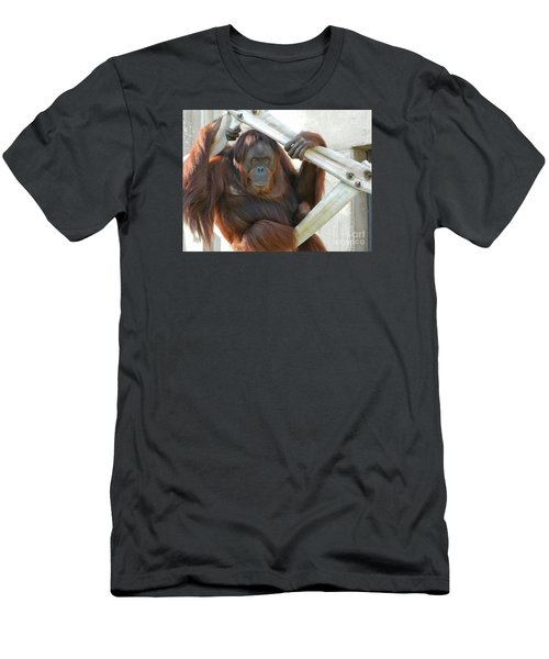 Men's T-Shirt (Slim Fit) featuring the photograph Hanging Out - Melati The Orangutan by Emmy Marie Vickers