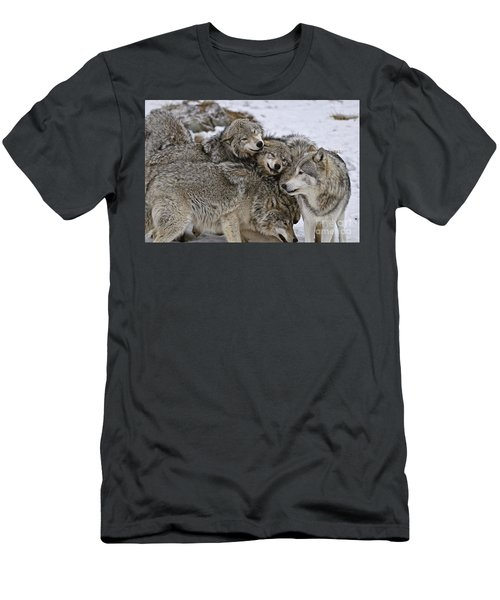 Happy Wolf Pack Men's T-Shirt (Athletic Fit)