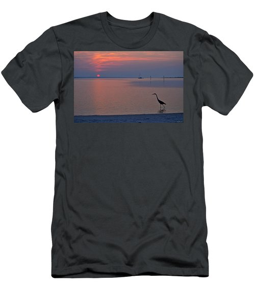 Harry The Heron Fishing On Santa Rosa Sound At Sunrise Men's T-Shirt (Slim Fit) by Jeff at JSJ Photography