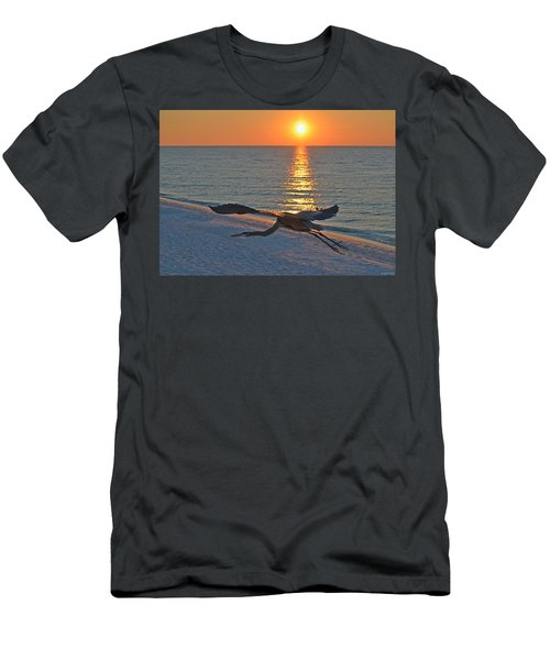 Harry The Heron Takes Flight To Reposition His Guard Over Navarre Beach At Sunrise Men's T-Shirt (Slim Fit) by Jeff at JSJ Photography