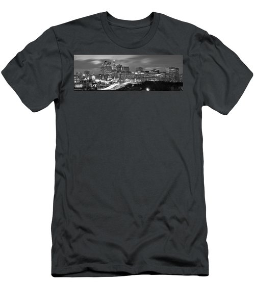 Hartford Skyline At Night Bw Black And White Panoramic  Men's T-Shirt (Athletic Fit)