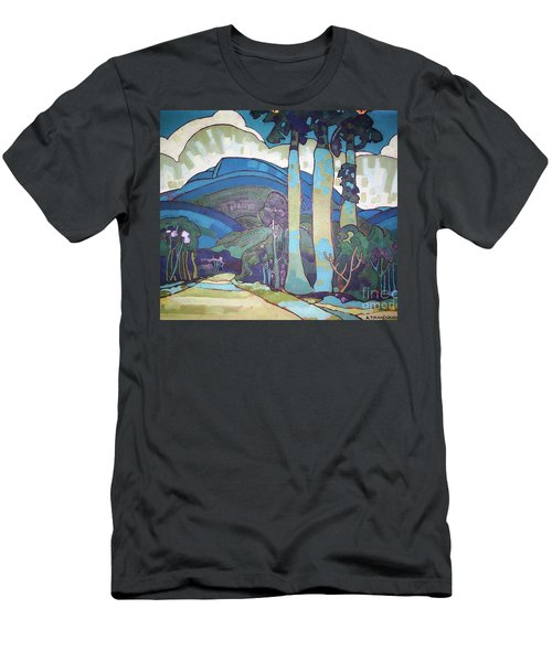 Men's T-Shirt (Slim Fit) featuring the painting Hawaiian Landscape by Pg Reproductions