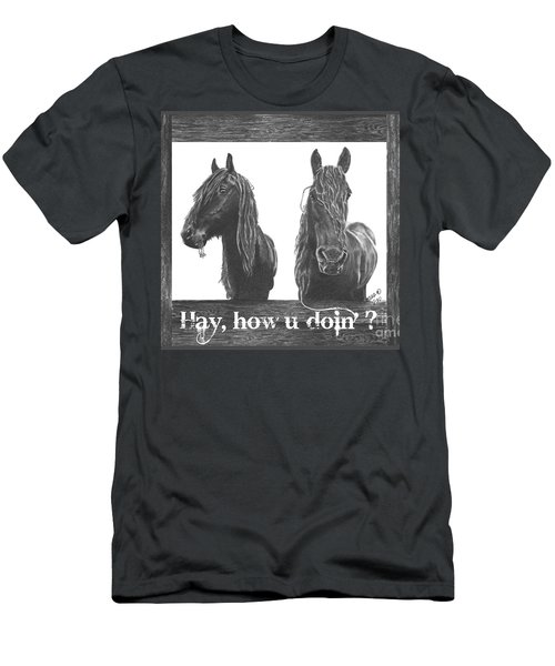 Men's T-Shirt (Slim Fit) featuring the drawing Hay How U Doin Card by Marianne NANA Betts