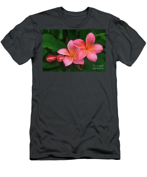 He Pua Laha Ole Hau Oli Hau Oli Oli Pua Melia Hae Maui Hawaii Tropical Plumeria Men's T-Shirt (Athletic Fit)