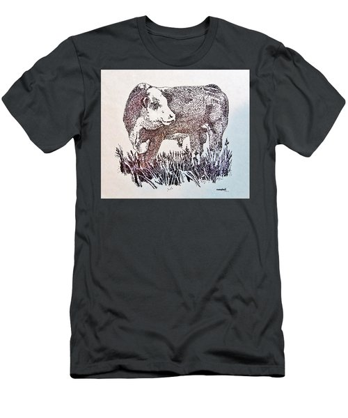 Men's T-Shirt (Slim Fit) featuring the drawing Polled Hereford Bull  by Larry Campbell