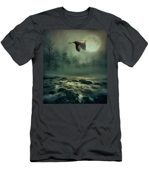Heron By Moonlight Men's T-Shirt (Slim Fit) by Andrea Kollo