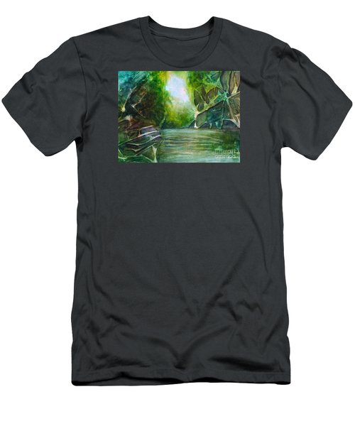 Men's T-Shirt (Slim Fit) featuring the painting Hidden Green by Allison Ashton