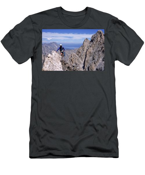 Hiking The Grand Tetons, Wy Usa Men's T-Shirt (Athletic Fit)