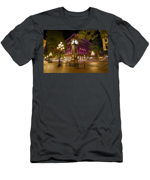 Men's T-Shirt (Slim Fit) featuring the photograph Historic Steam Clock In Gastown Vancouver Bc by JPLDesigns