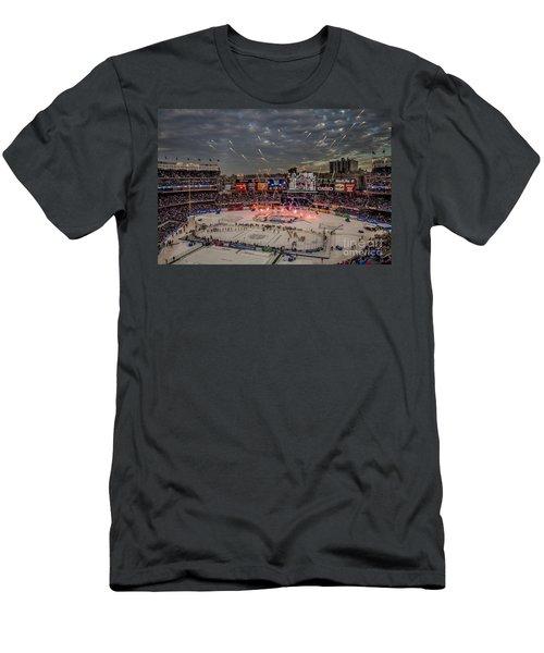 Hockey At Yankee Stadium Men's T-Shirt (Slim Fit) by David Rucker