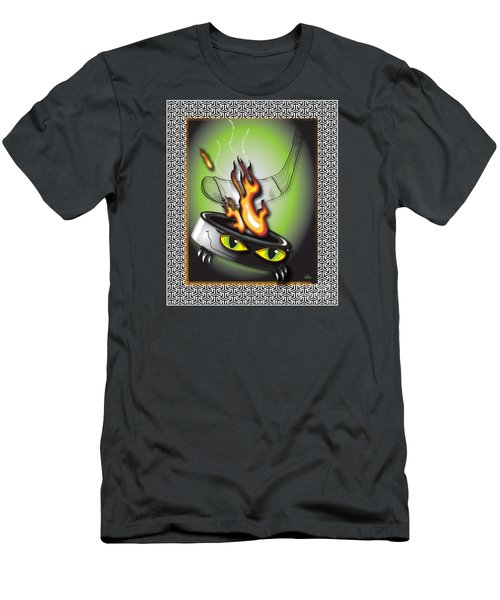 Hockey Puck In Flames Men's T-Shirt (Athletic Fit)