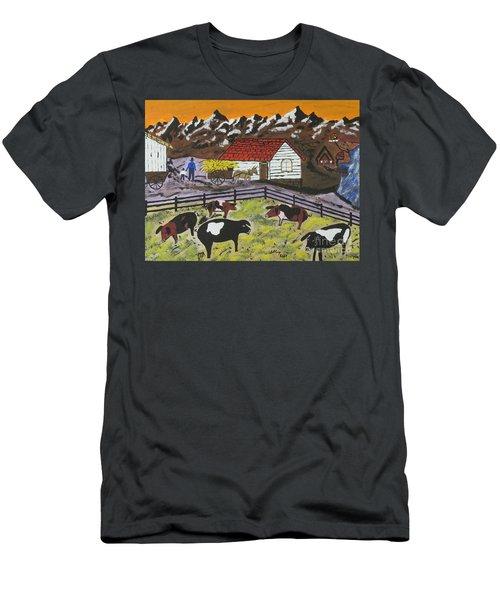 Men's T-Shirt (Slim Fit) featuring the painting Hog Heaven Farm by Jeffrey Koss