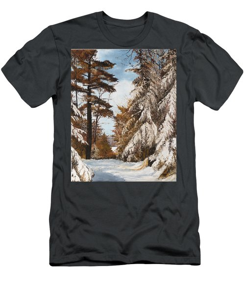 Holland Lake Lodge Road - Montana Men's T-Shirt (Athletic Fit)