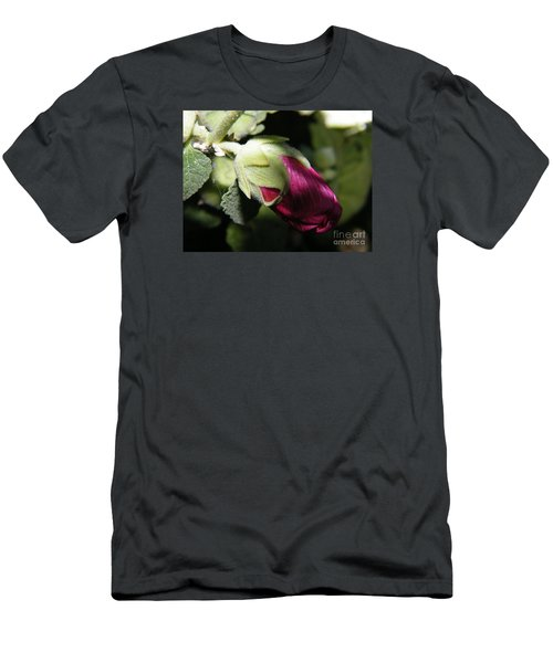 Men's T-Shirt (Athletic Fit) featuring the photograph Hollyhock Shadows by Ann E Robson