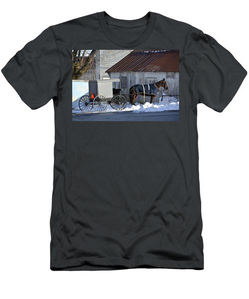 Horse And Buggy Parked Men's T-Shirt (Athletic Fit)
