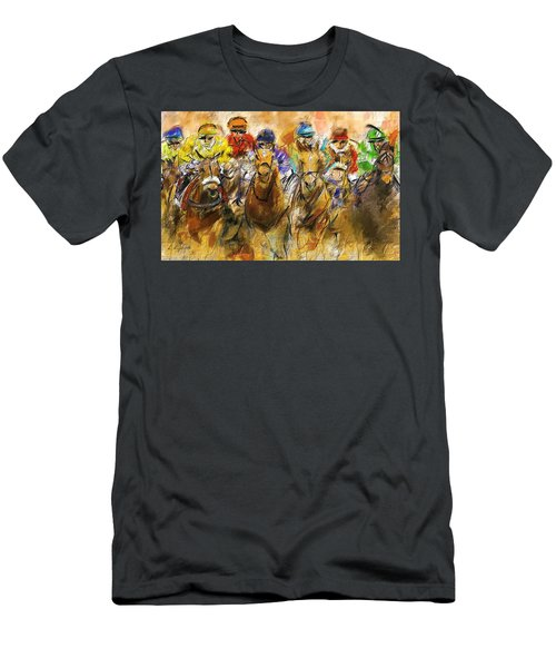 Horse Racing Abstract Men's T-Shirt (Athletic Fit)
