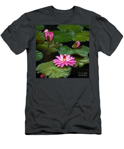 Hot Pink And Green Tropical Waterlilies Men's T-Shirt (Athletic Fit)