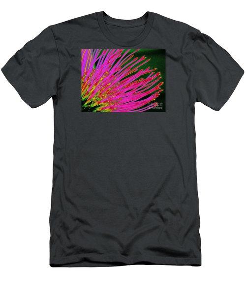 Hot Pink Protea Men's T-Shirt (Slim Fit) by Ranjini Kandasamy
