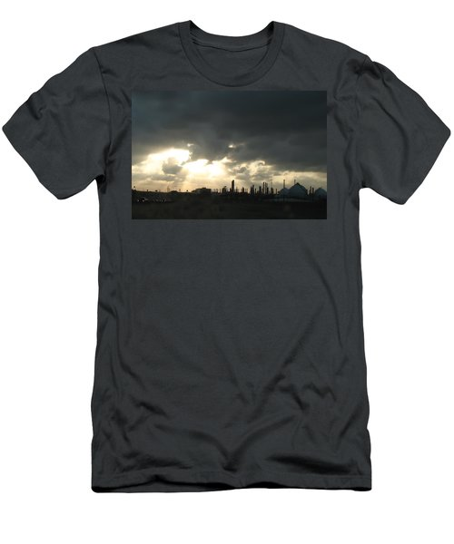 Houston Refinery At Dusk Men's T-Shirt (Slim Fit) by Connie Fox
