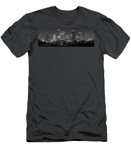 Houston Skyline At Night Black And White Bw Men's T-Shirt (Athletic Fit)