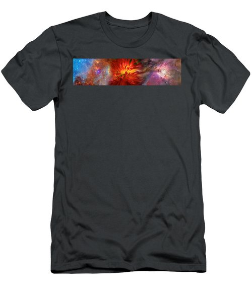 Hubble Galaxy With Red Chrysanthemums Men's T-Shirt (Athletic Fit)