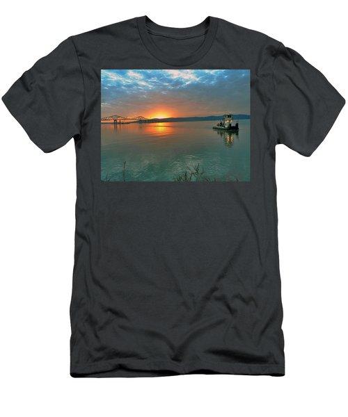 Hudson River Sunset Men's T-Shirt (Slim Fit) by Jeffrey Friedkin