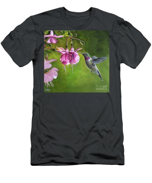 Hummingbird And Fuschia Men's T-Shirt (Athletic Fit)