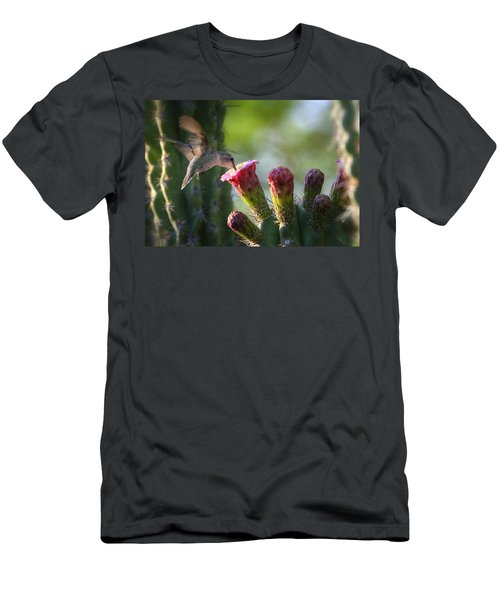 Hummingbird Breakfast Southwest Style  Men's T-Shirt (Slim Fit) by Saija  Lehtonen