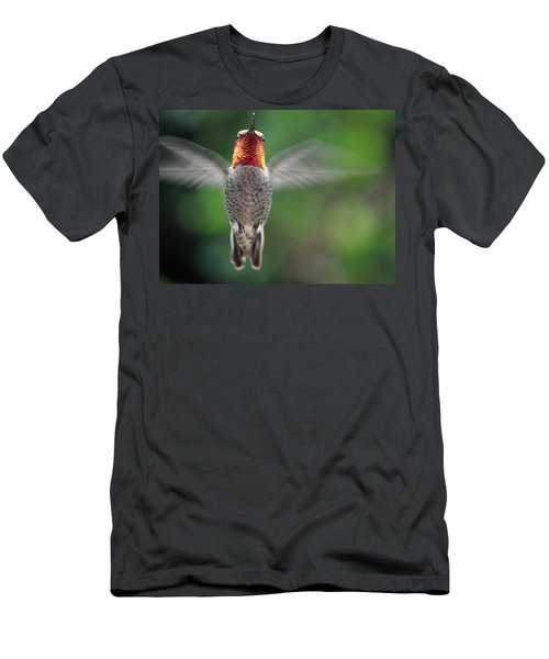 Men's T-Shirt (Slim Fit) featuring the photograph Hummingbird In Flight Male Anna by Jay Milo