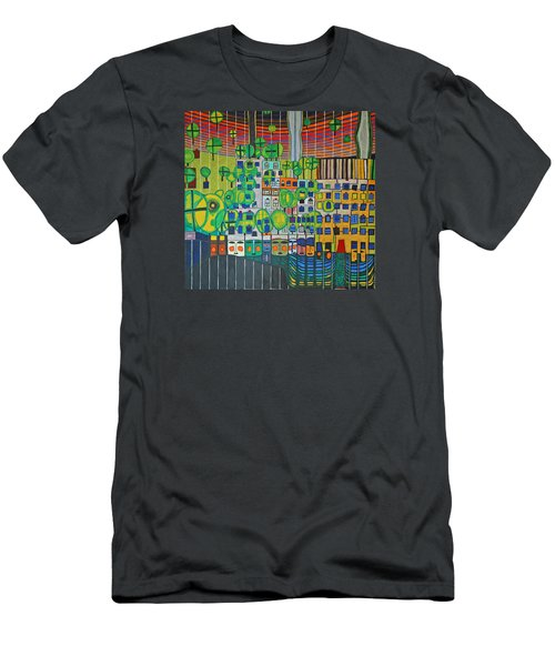 Hundertwasser The Three Skins In 3d By J.j.b. Men's T-Shirt (Athletic Fit)