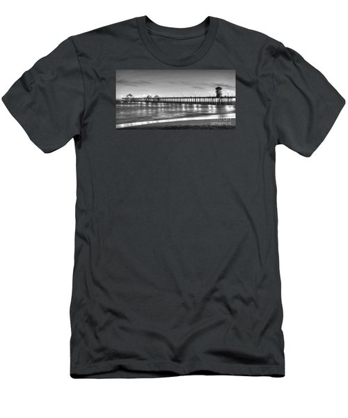 Men's T-Shirt (Slim Fit) featuring the photograph Huntington Beach Pier Twilight - Black And White by Jim Carrell