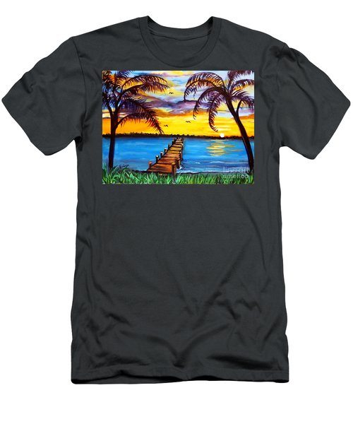 Men's T-Shirt (Slim Fit) featuring the painting Hurry Sundown by Ecinja Art Works