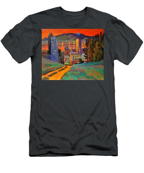 Men's T-Shirt (Slim Fit) featuring the painting I Love New York City Jazz by Art James West
