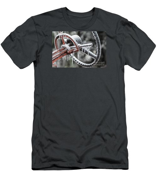 Men's T-Shirt (Slim Fit) featuring the photograph Icy Allis- Chalmers Tractor by Debbie Green