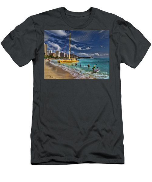 Idyllic Waikiki Beach Men's T-Shirt (Athletic Fit)