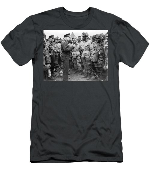Ike With D-day Paratroopers Men's T-Shirt (Athletic Fit)