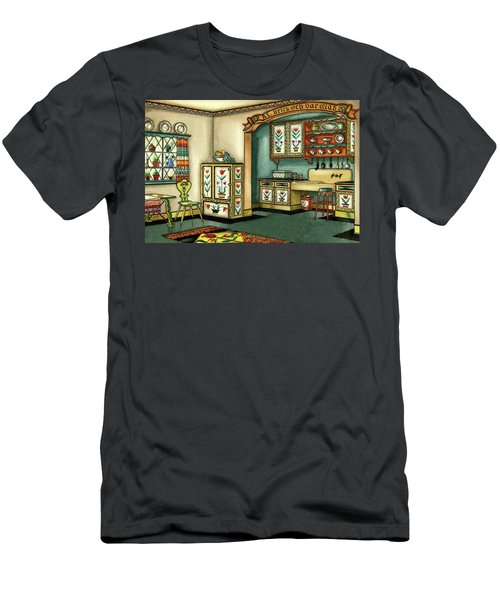 Illustration Of A Colorful Swedish Kitchen Men's T-Shirt (Athletic Fit)
