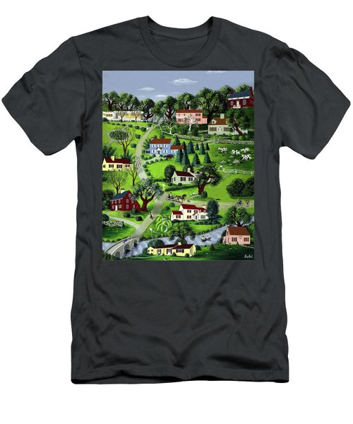Illustration Of A Village Men's T-Shirt (Athletic Fit)