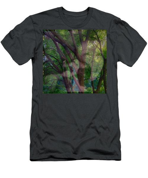 In The Forest Self-portrait With Ferret Men's T-Shirt (Athletic Fit)