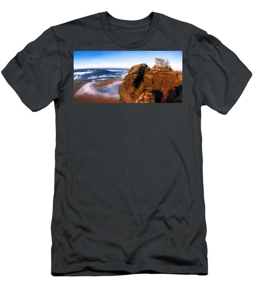 In The Sun Glowing Rock On The Lilienstein Men's T-Shirt (Athletic Fit)
