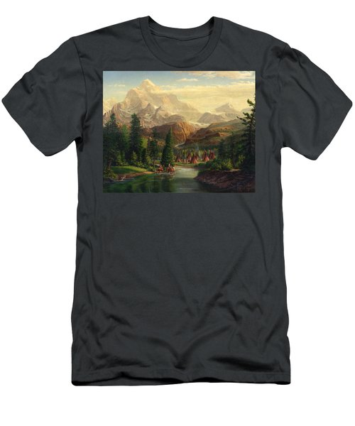 Indian Village Trapper Western Mountain Landscape Oil Painting - Native Americans Americana Stream Men's T-Shirt (Athletic Fit)