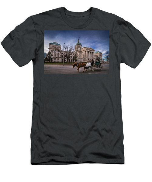Indiana Capital Building - Front With Horse Passing Men's T-Shirt (Athletic Fit)