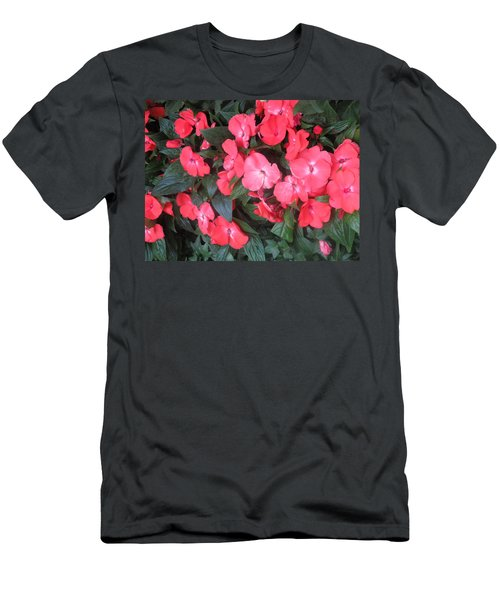 Men's T-Shirt (Slim Fit) featuring the photograph Interior Decorations Butterfly Garden Flowers Romantic At Las Vegas by Navin Joshi